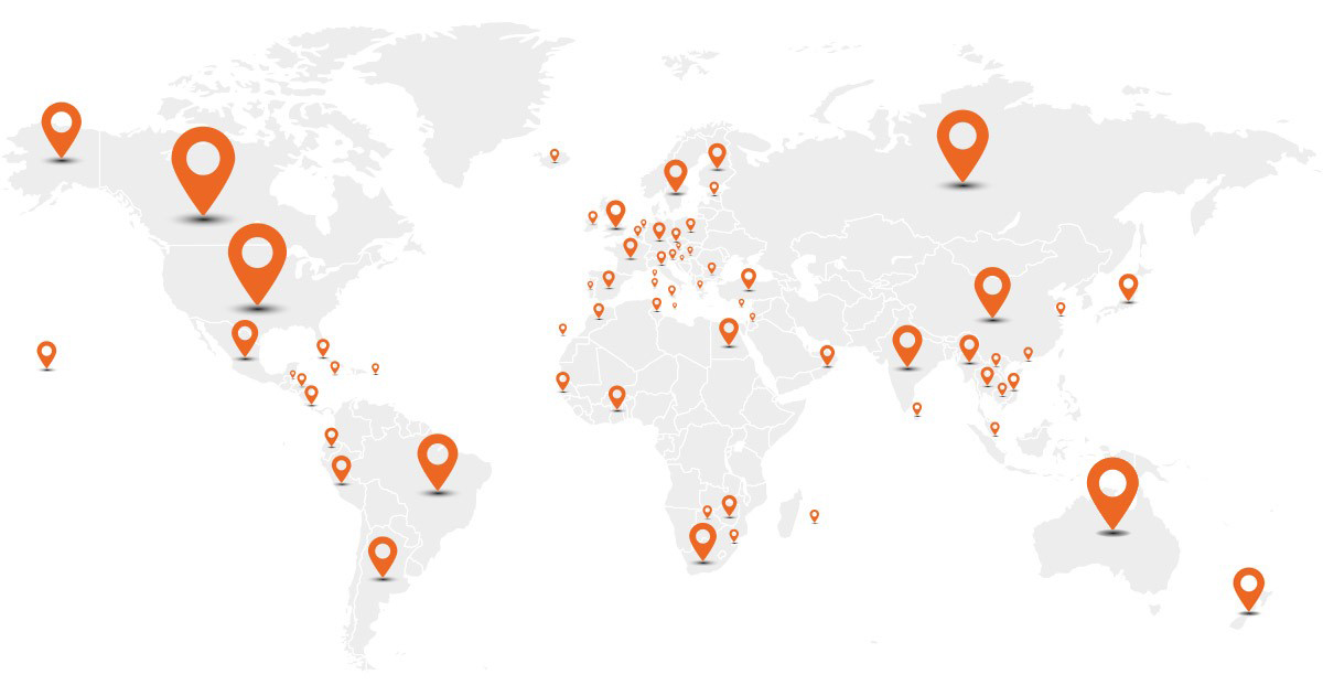 Map of the world showing everywhere that Traveleyes has been. We're happy to say there are too many destinations to list.