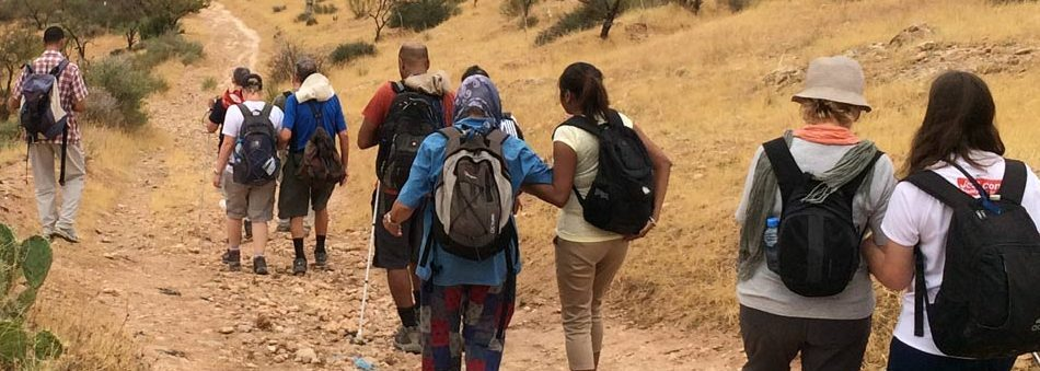A Traveleyes Group walking in the Atlas Mountains