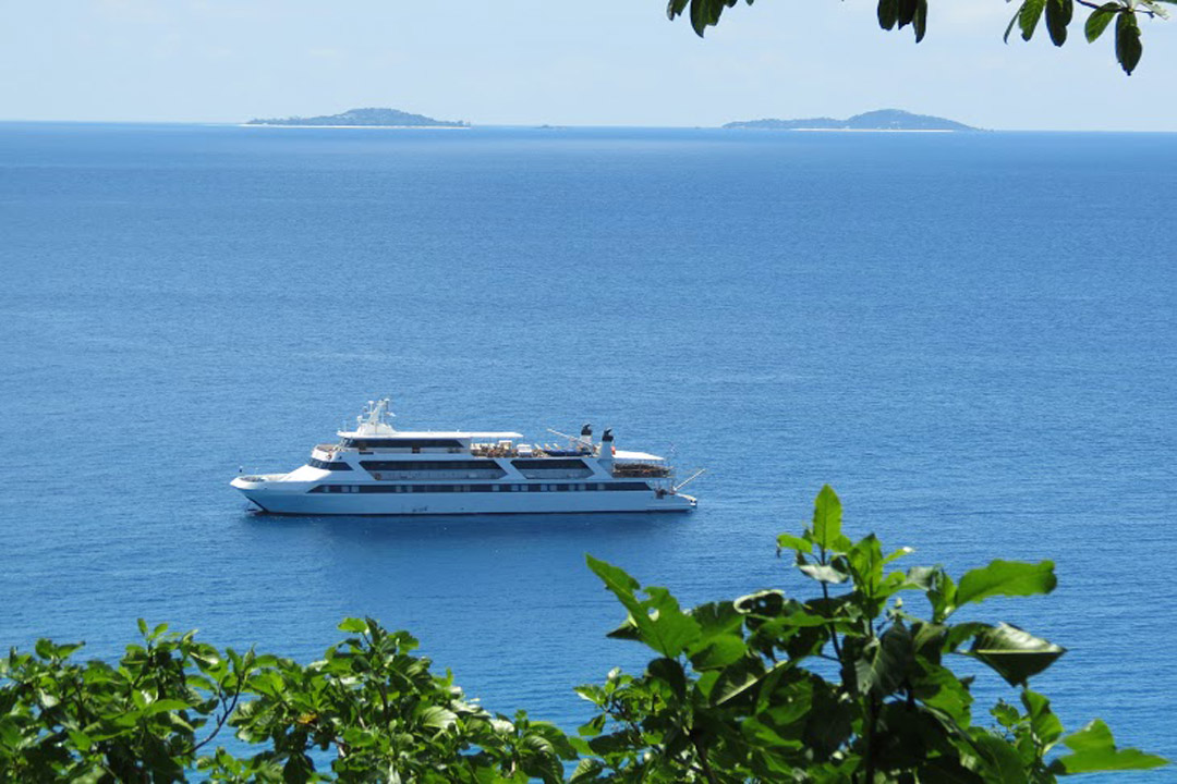 Our yacht cruise anchored off Aride island