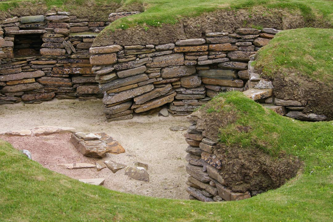 5000 year old neolithic house remains of Scara Brae