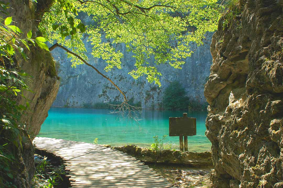 A boarded path leads under tree branches and past a rocky cliff side to the rivers pure turquoise waters