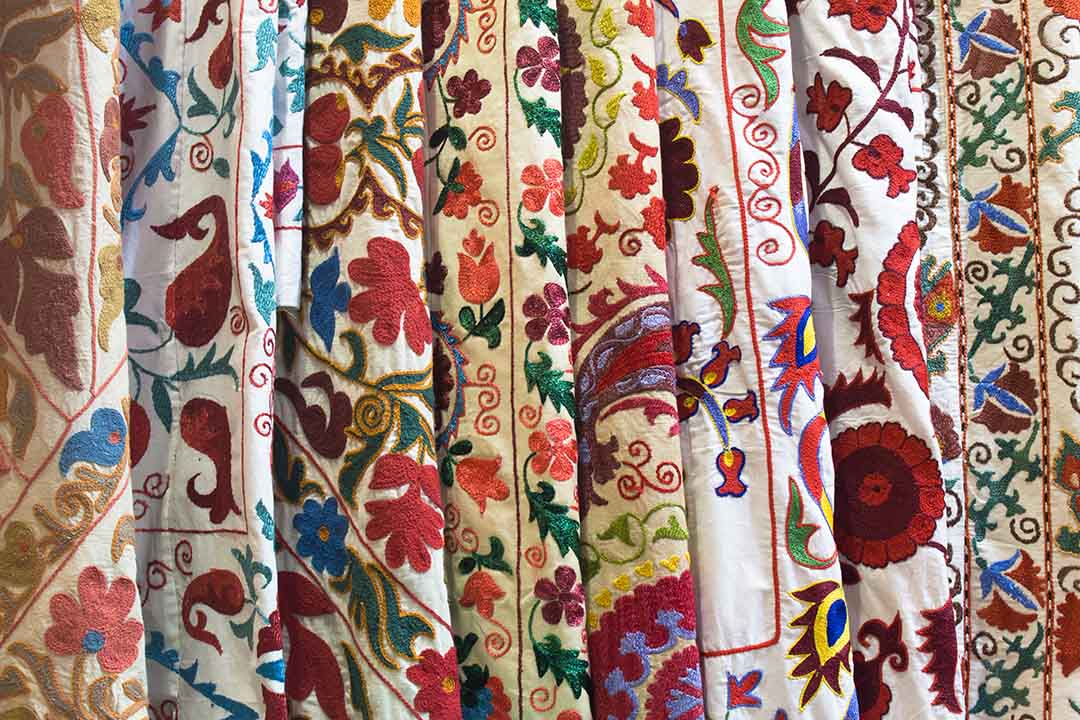 Textiles folded in a shop
