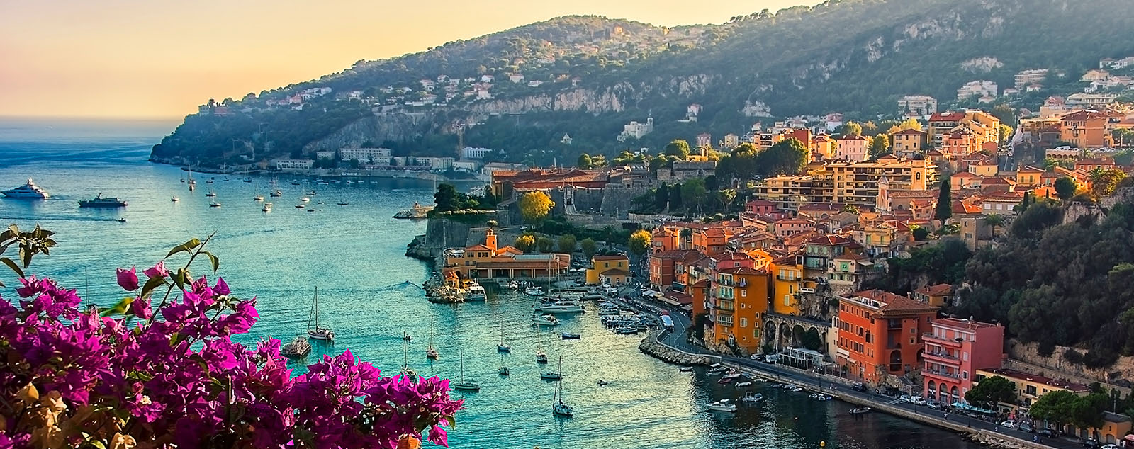 The French Riviera Coast showing flowers, pastel coloured houses and beautiful waters