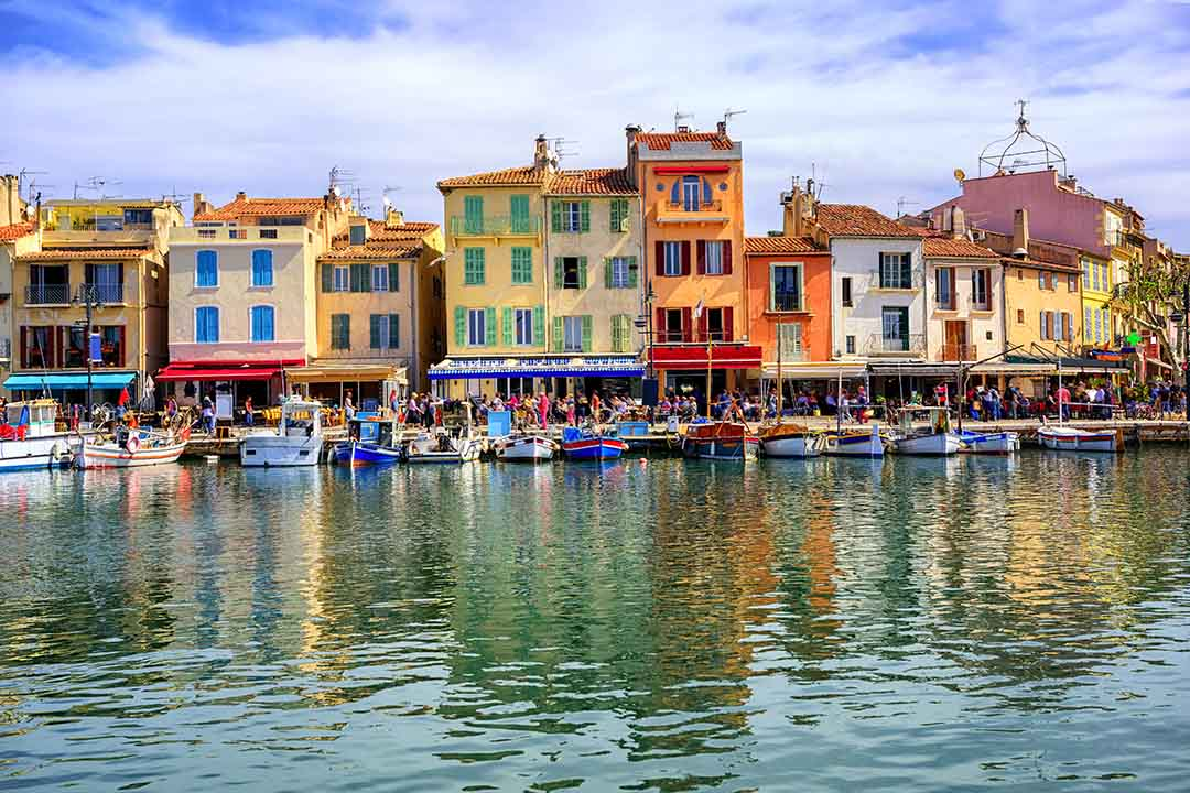 Colorful traditional houses on the promenade in the port of Cassis town by Marseille, Provence, France