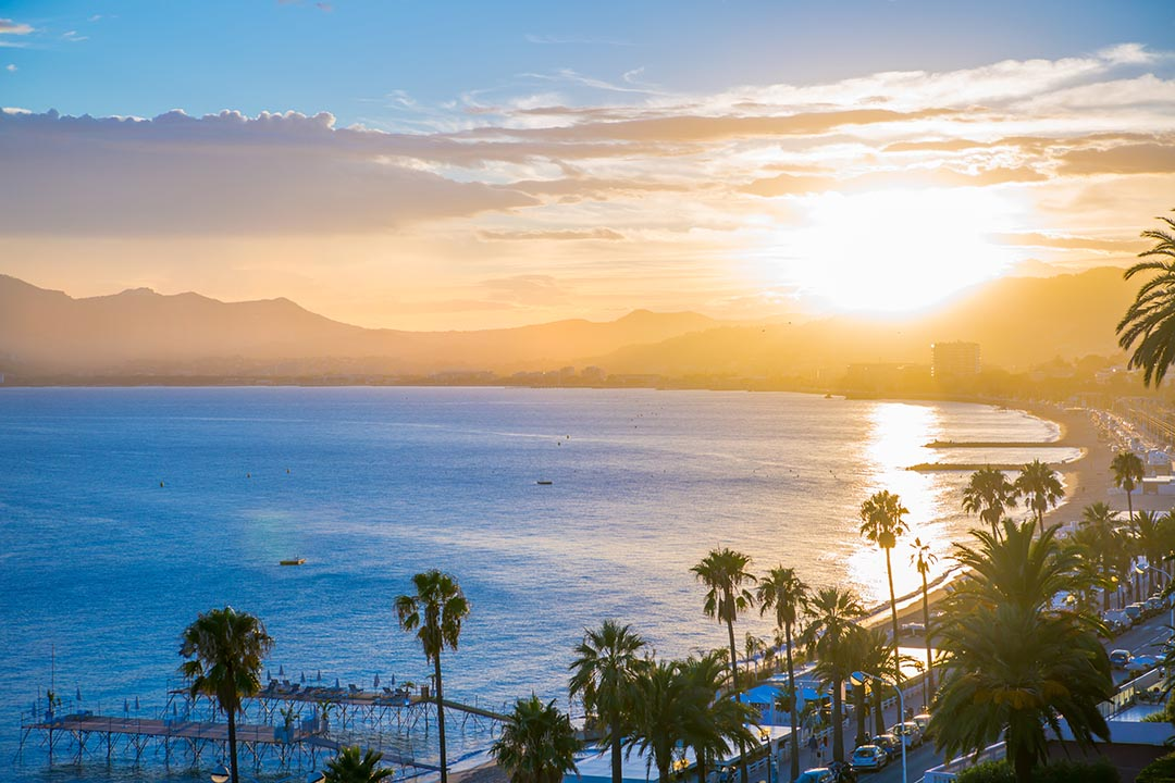 Cannes at sunset, beautiful sky and sea line. France