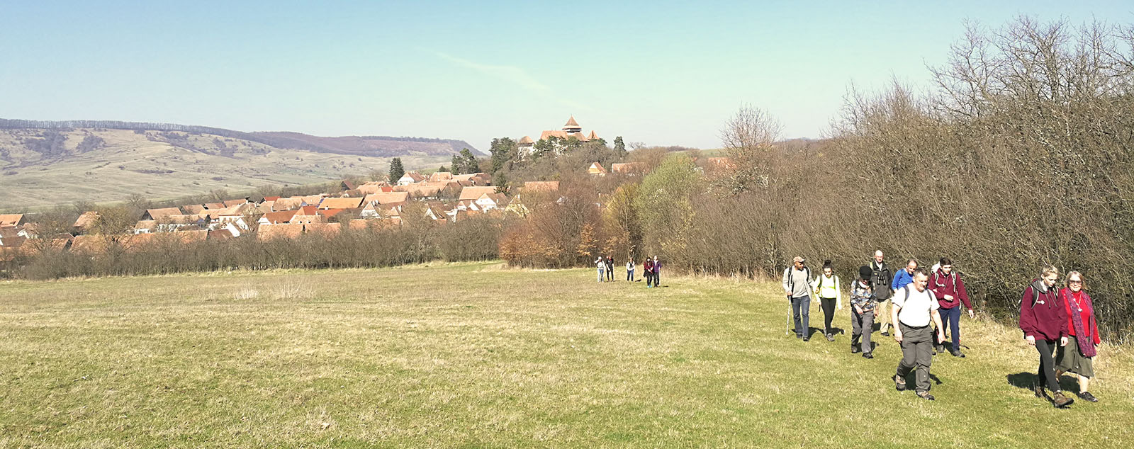 A group of Traveleyes walkers hiking over green grass with the town of Viscri in the background