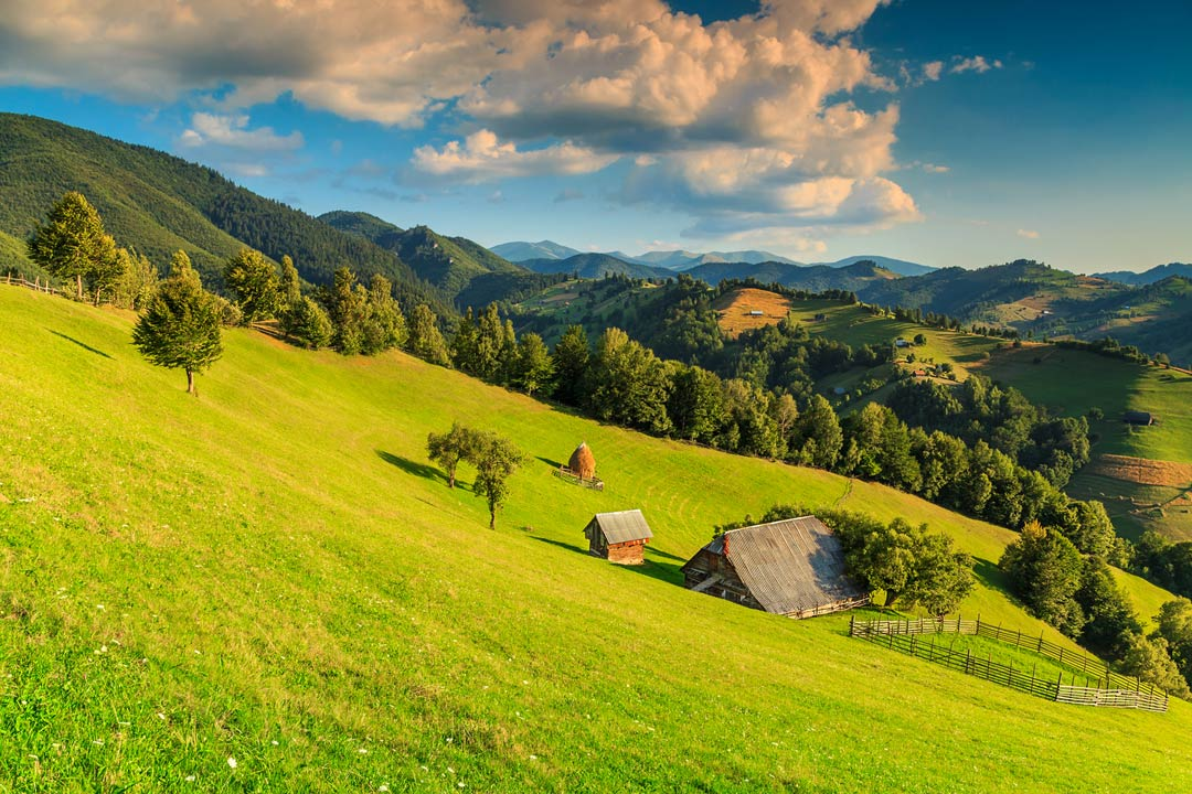 rolling green hills with a small cottage dotted in the middle