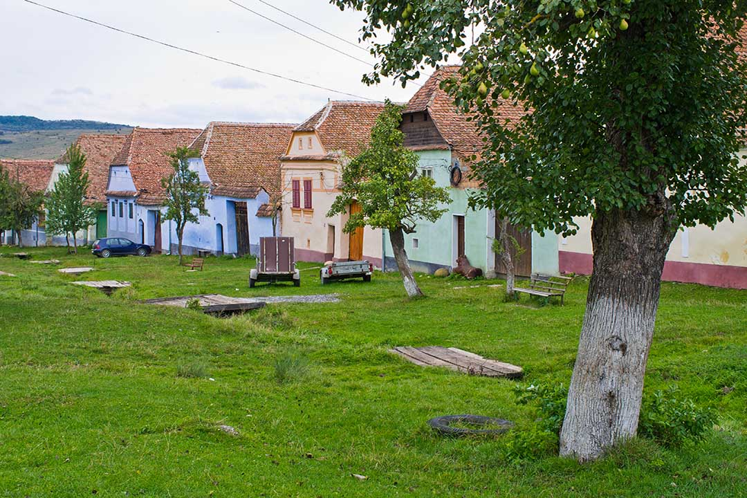 row of traditional romanian houses