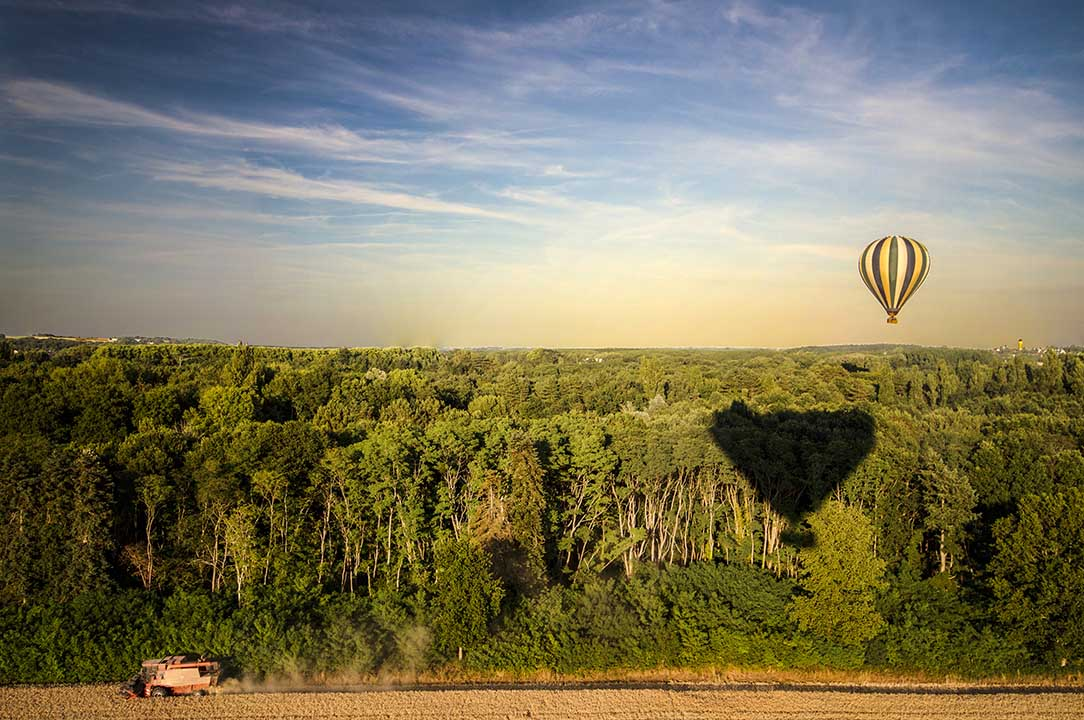 Wide view of woodland from the air with a hot air balloon drifitng in the distance