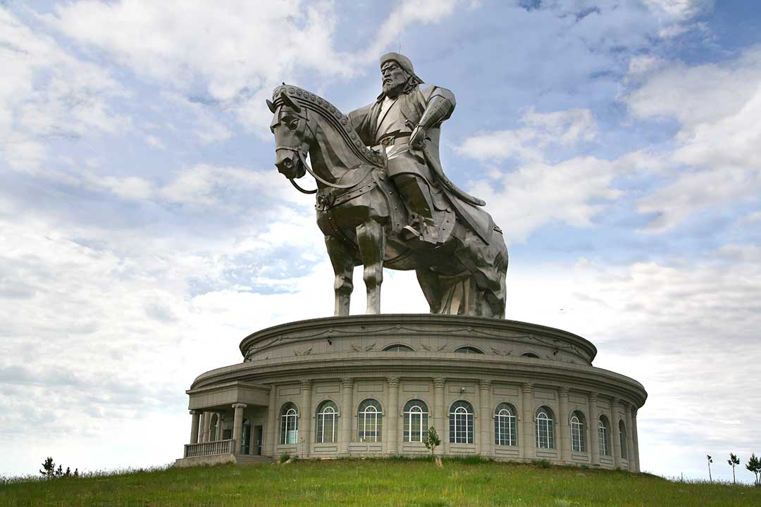 The giant statue of Genghis Khan. A huge figure on horseback stands on top of a spherical building