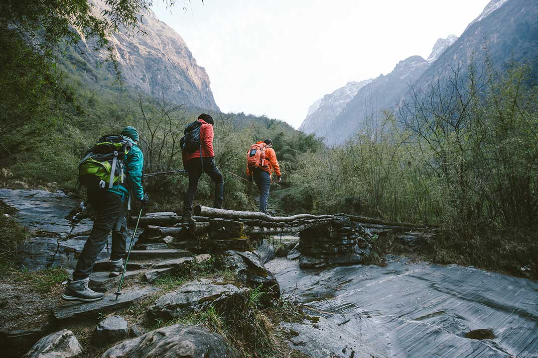 A group of walkers cross a log bridge with mountains towering in the background