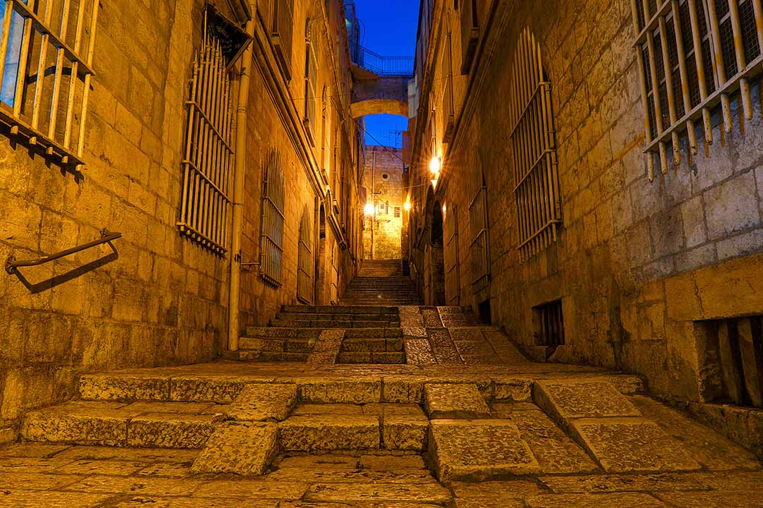 Narrow steep stone streets in the Old City of Jerusalem