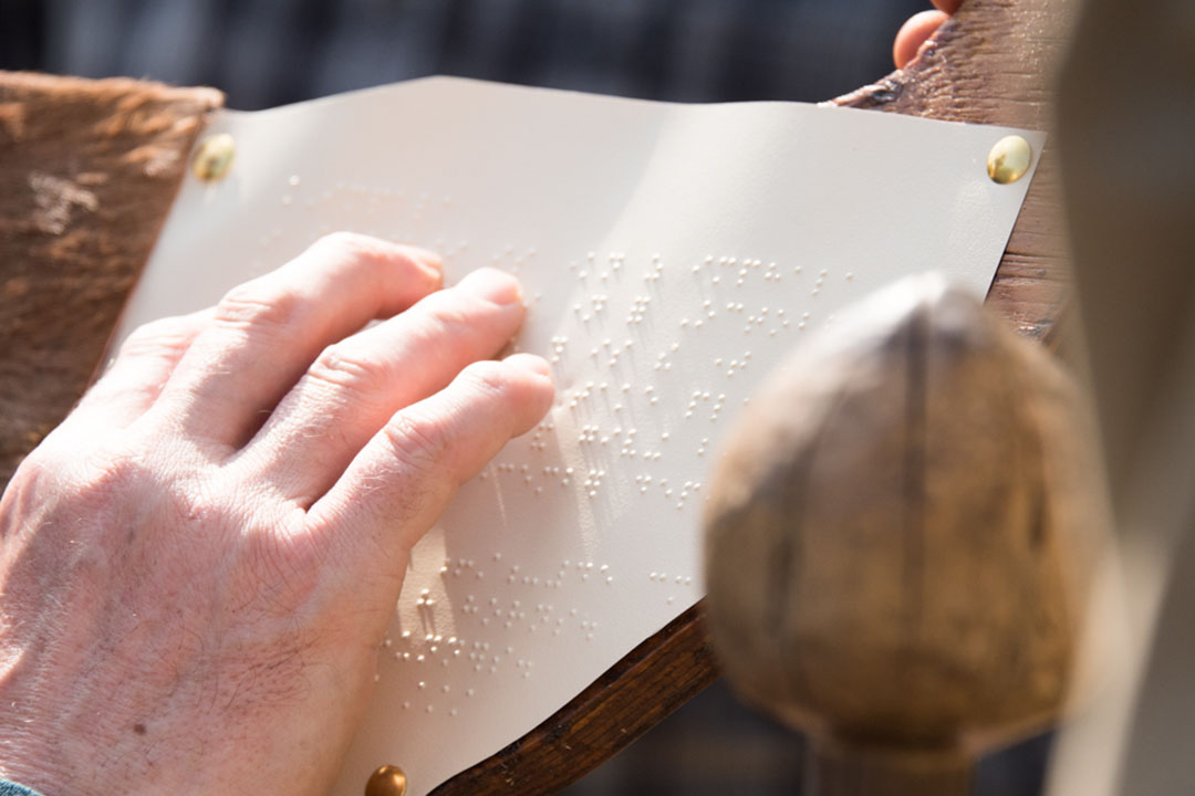 A hand reading a wooden carving of an African animal covered in fur that has braille information on it