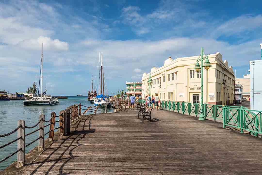 Wooden quay of downtown at the Port of Bridgetown.