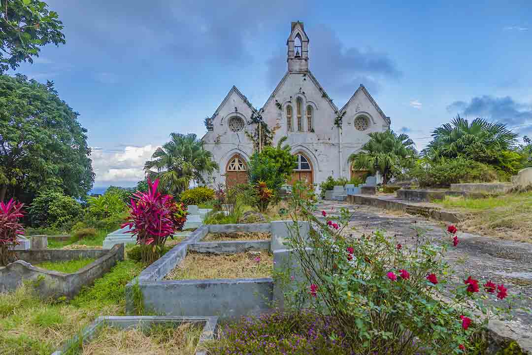An old damaged church, surrounded by greenery, including purple and pink flowers.