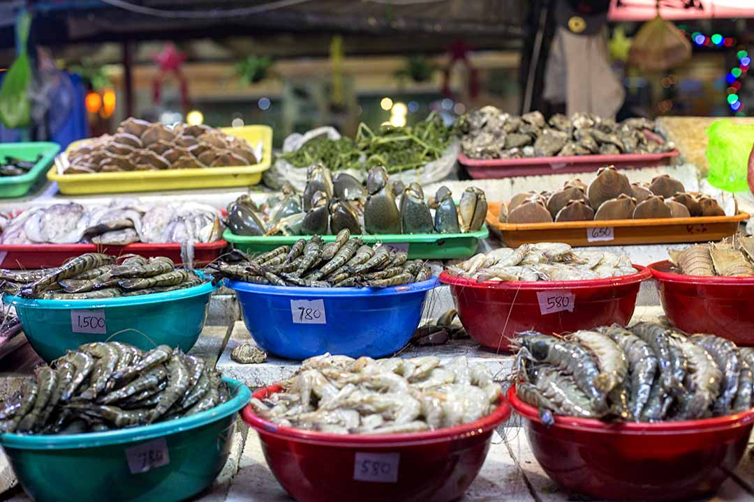 Fresh fish being sold at a market in Manila