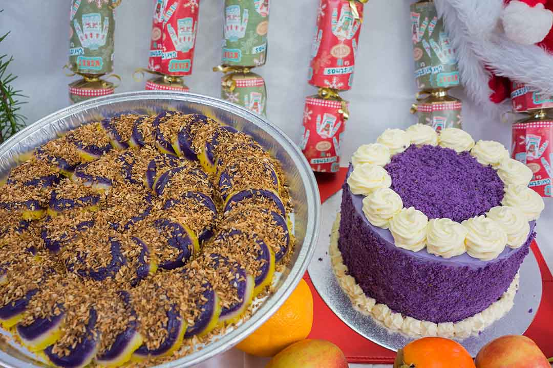 Filipino purple yam cake and sweets in a display