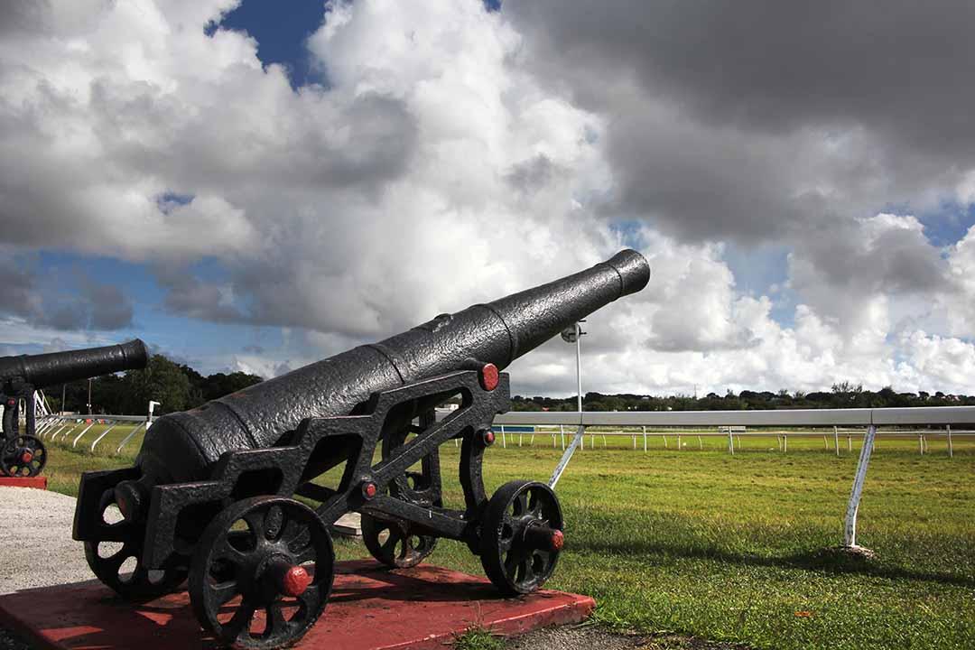 Historic Canon at the Garrison Savannah horse racing track.