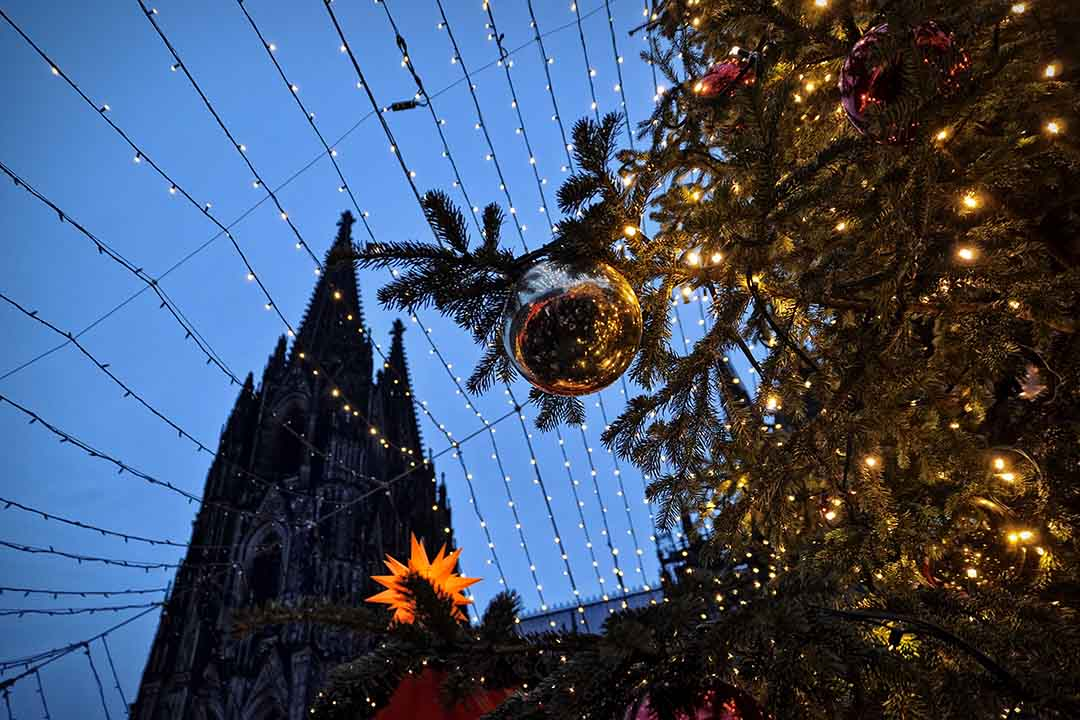 Christmas market illumination and decoration in Cologne, Germany