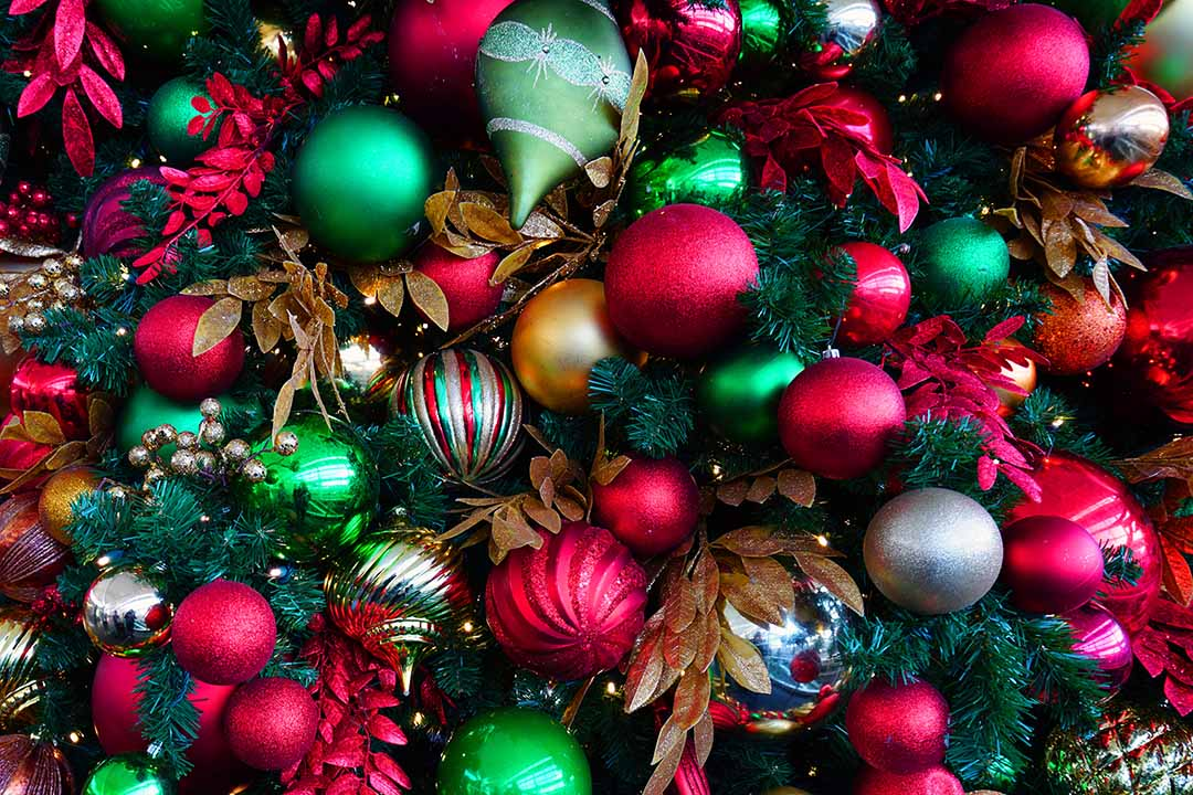 Red and green holiday ornaments on a Christmas tree
