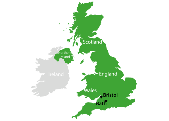Map Highlighting Bristol And Bath