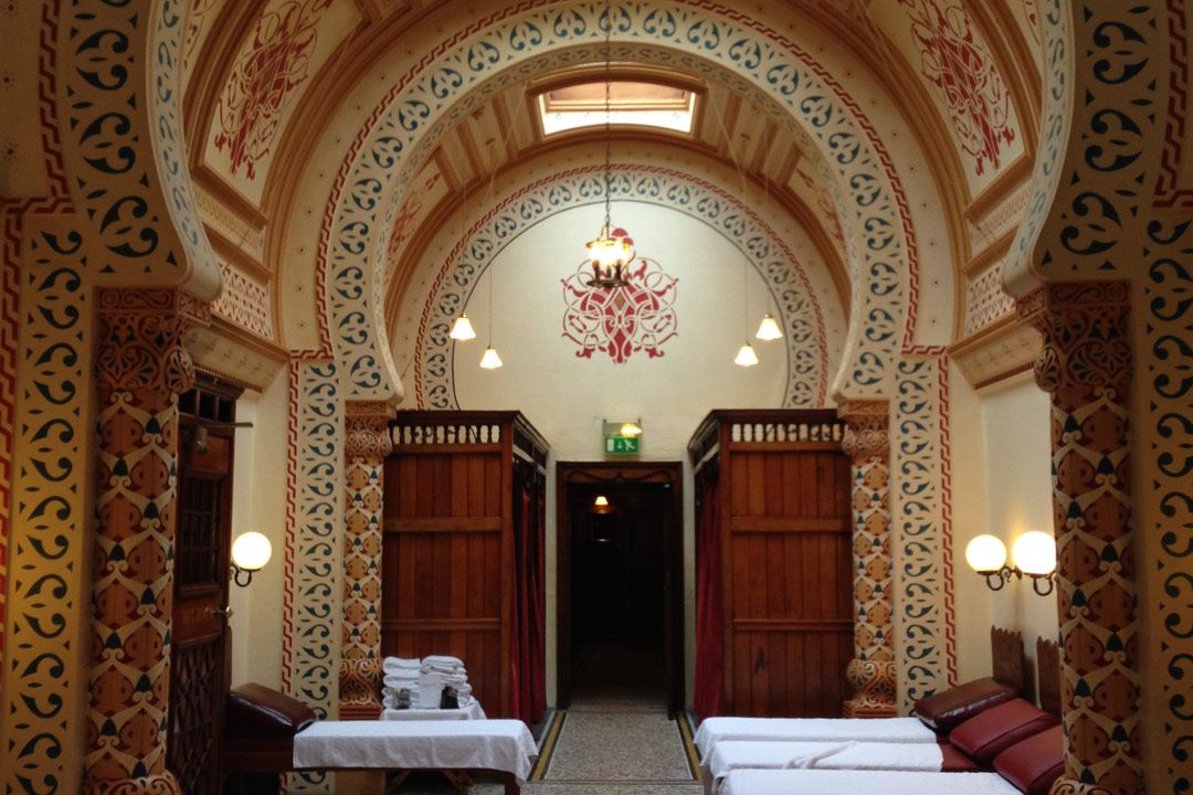 Ornately decorated treatment room in Turkish baths