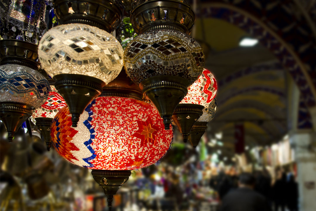 Intricate and colourful hanging lights