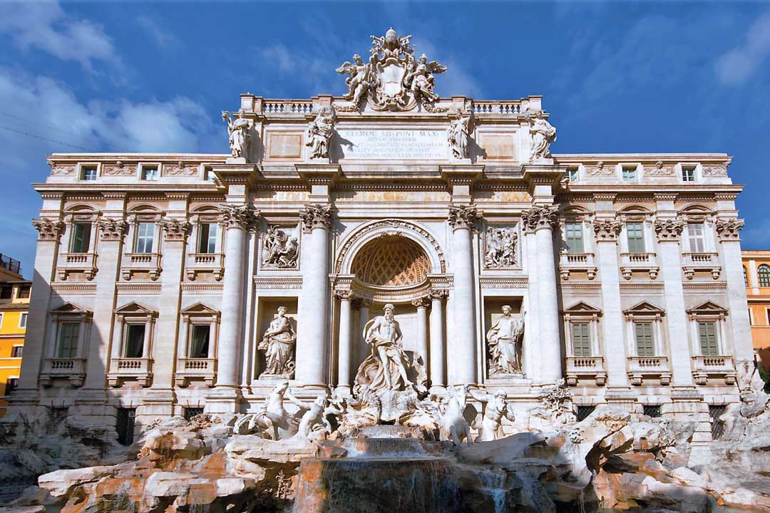 The front facade of the white Trevi Fountain