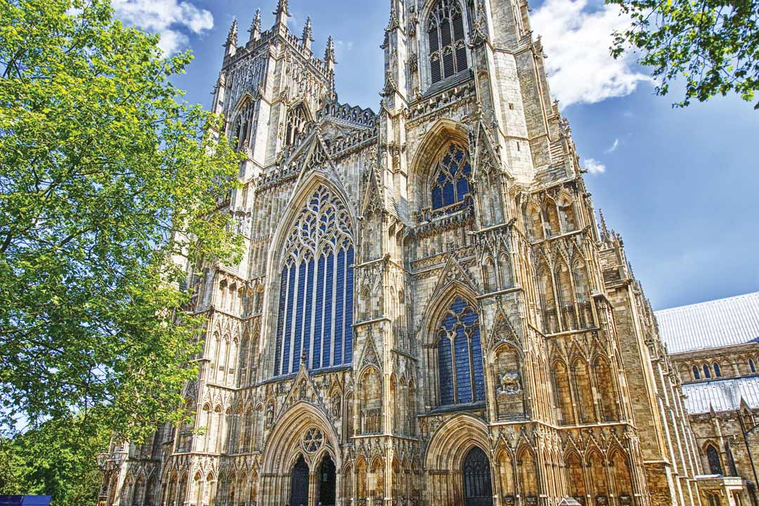 Close view of the exquisite architecture on the exterior of York Cathedral