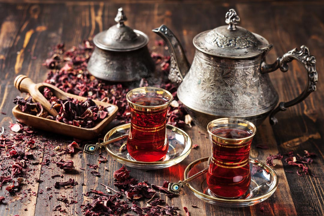 Traditional Turkish tea in an intricate pot