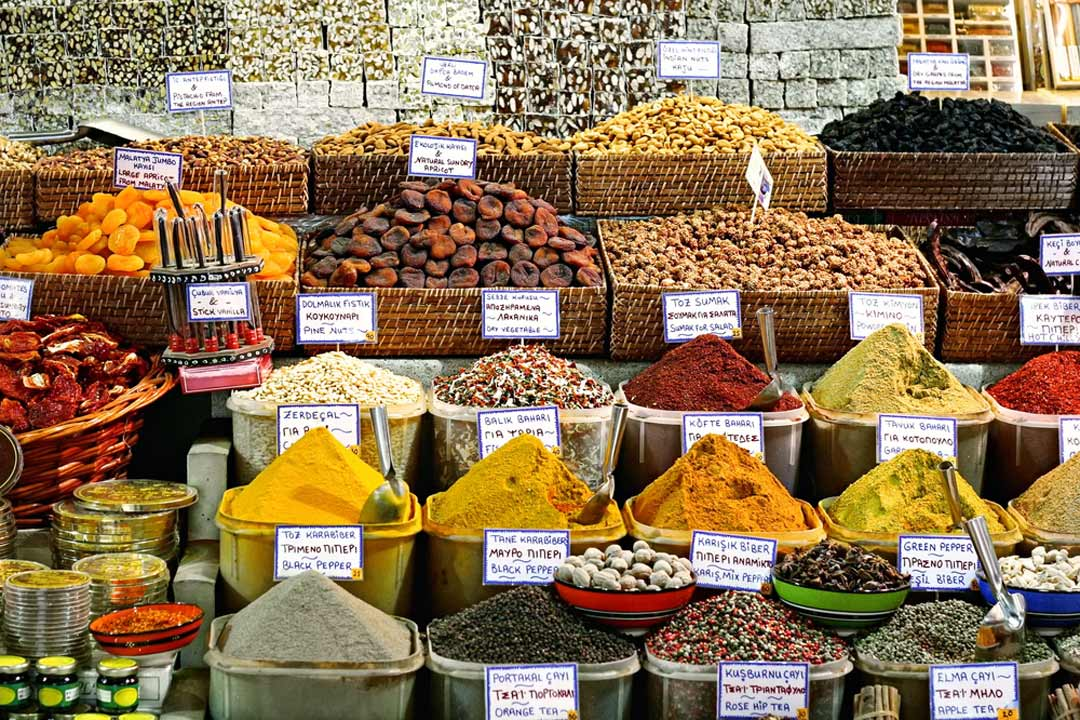 An array of herbs and spices at market
