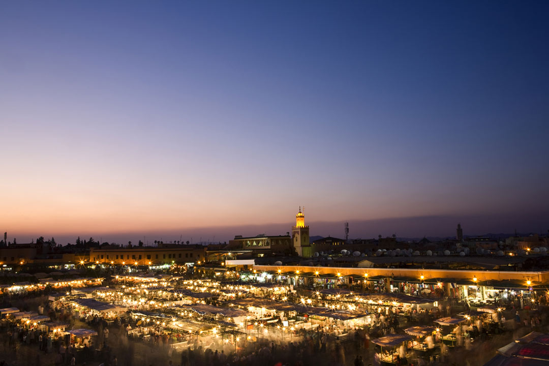 The twinkling lights of Marrakech at night