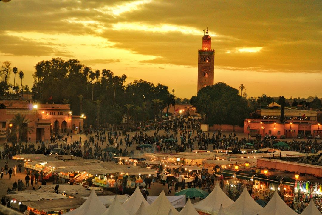 Moroccan market in an orange sky