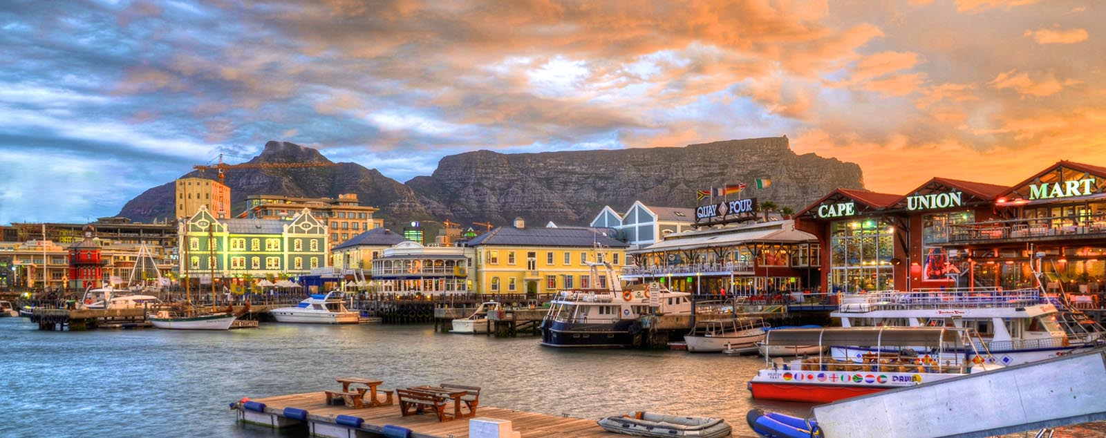 The waterfront in Cape Town with dazzling sky