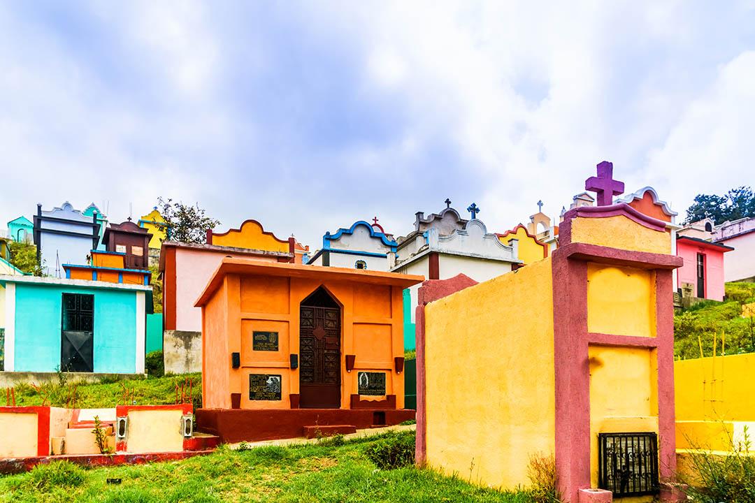 Colorful maya cemetery by Chichicastenango in Guatemala