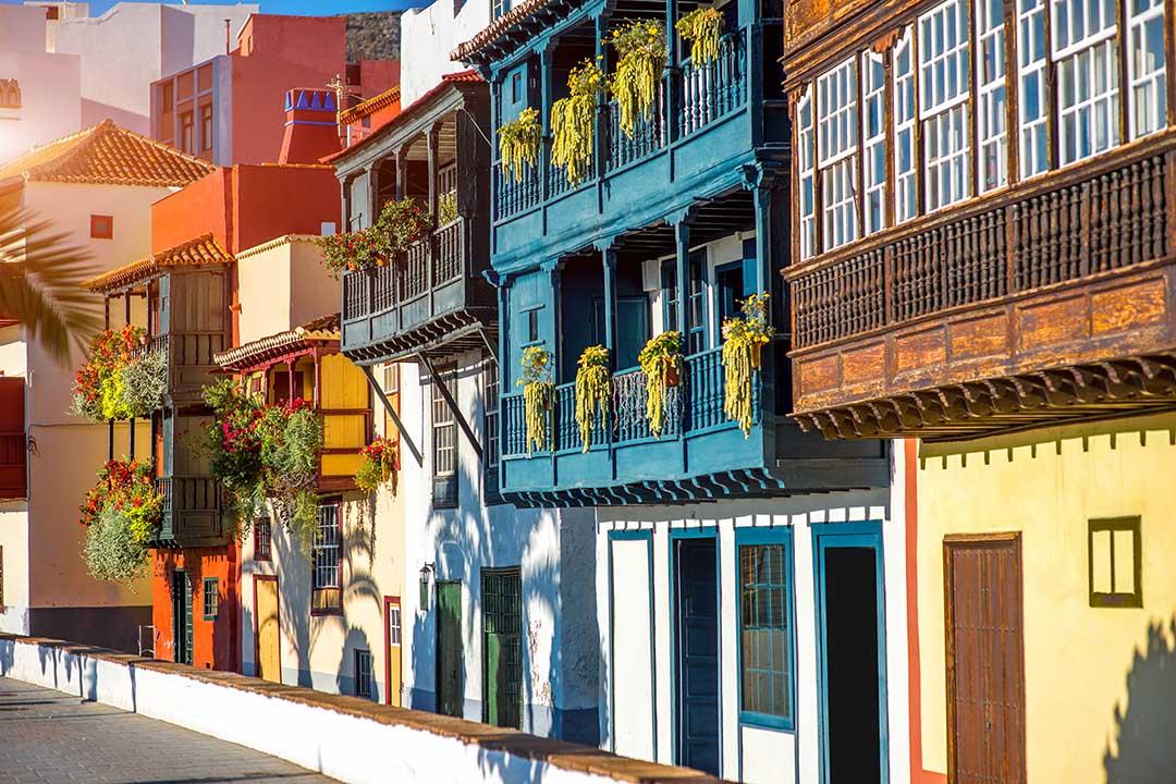 Colorful balconies in Santa Cruz city