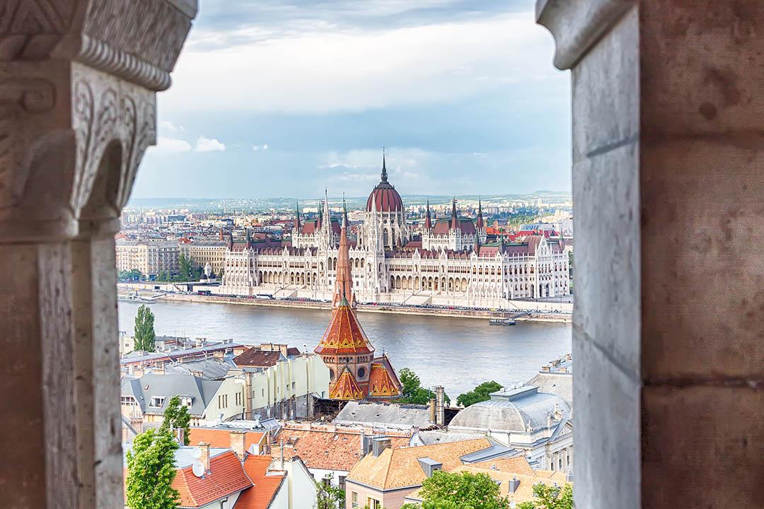 Window view overlooking stunning Budapest