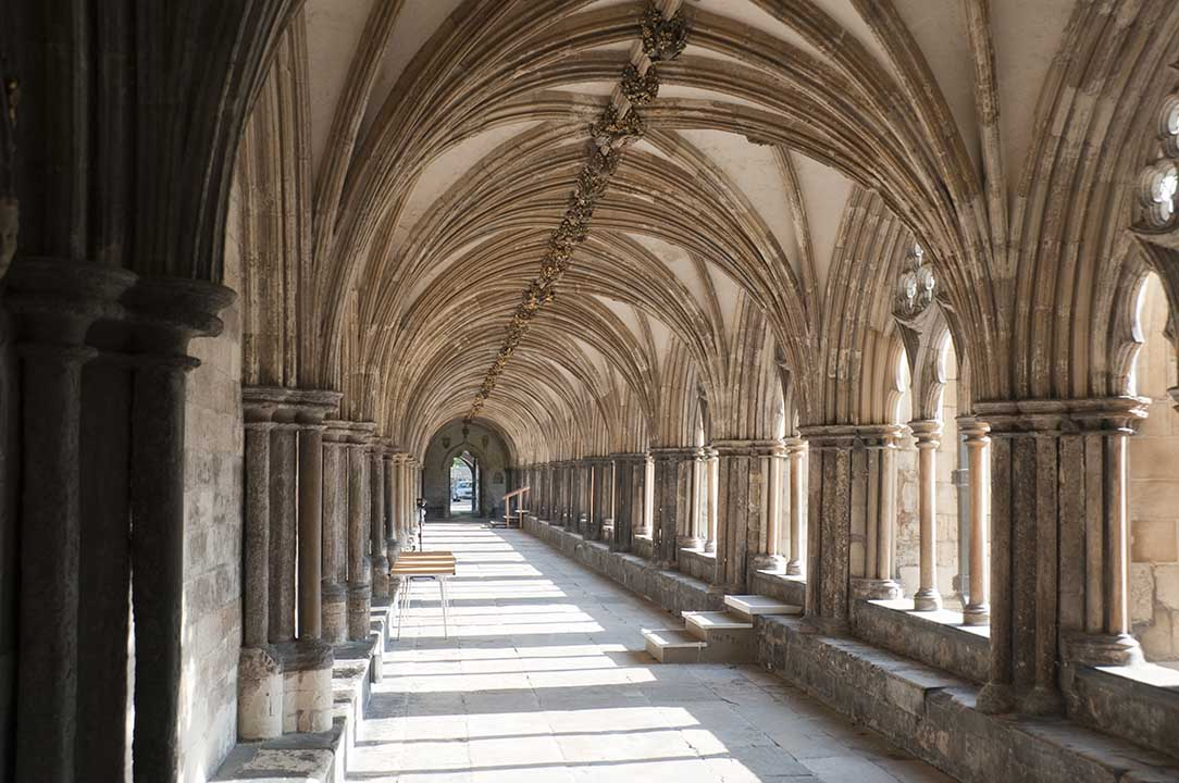 Cloister in Norwich cathedral, England