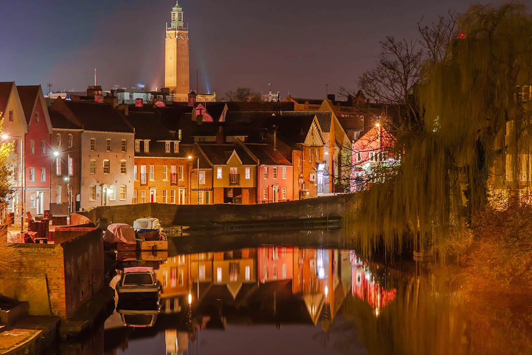 The River Wensum in Norwich at night time