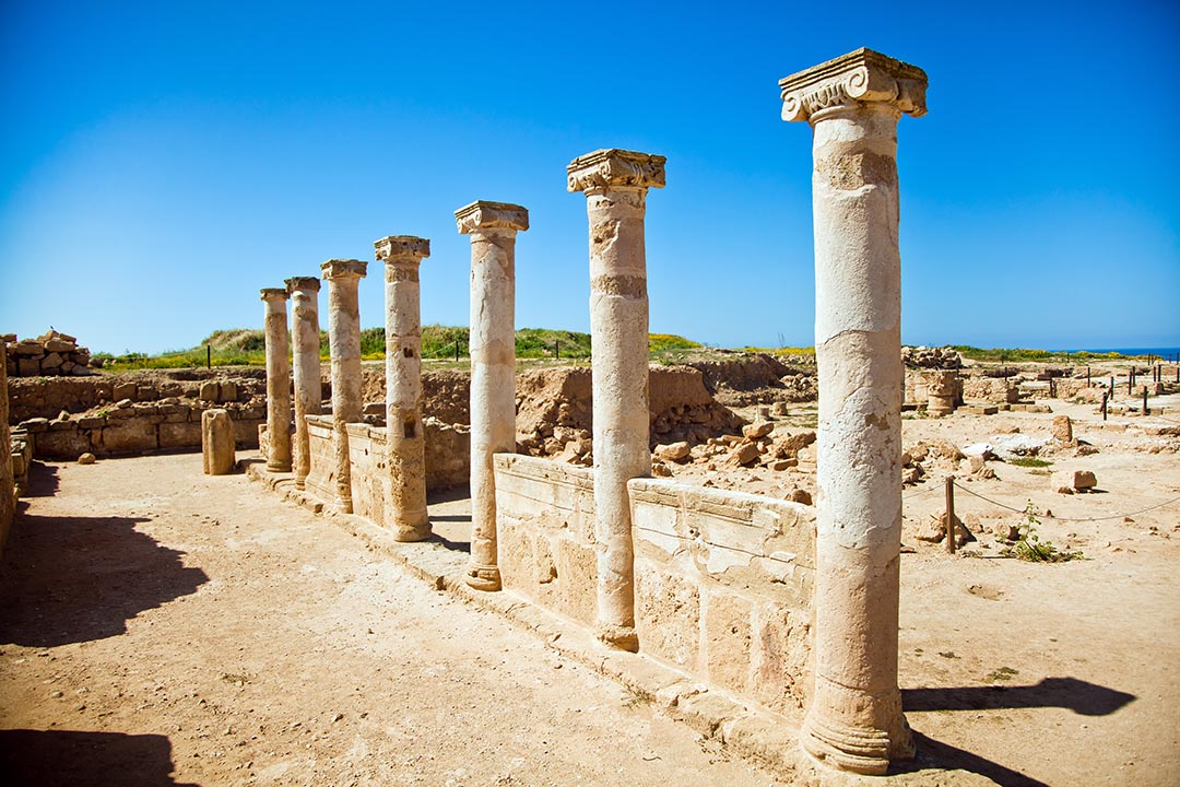 Ancient Columns sited on the UNESCO world heritage site at Pafos, Cyprus.