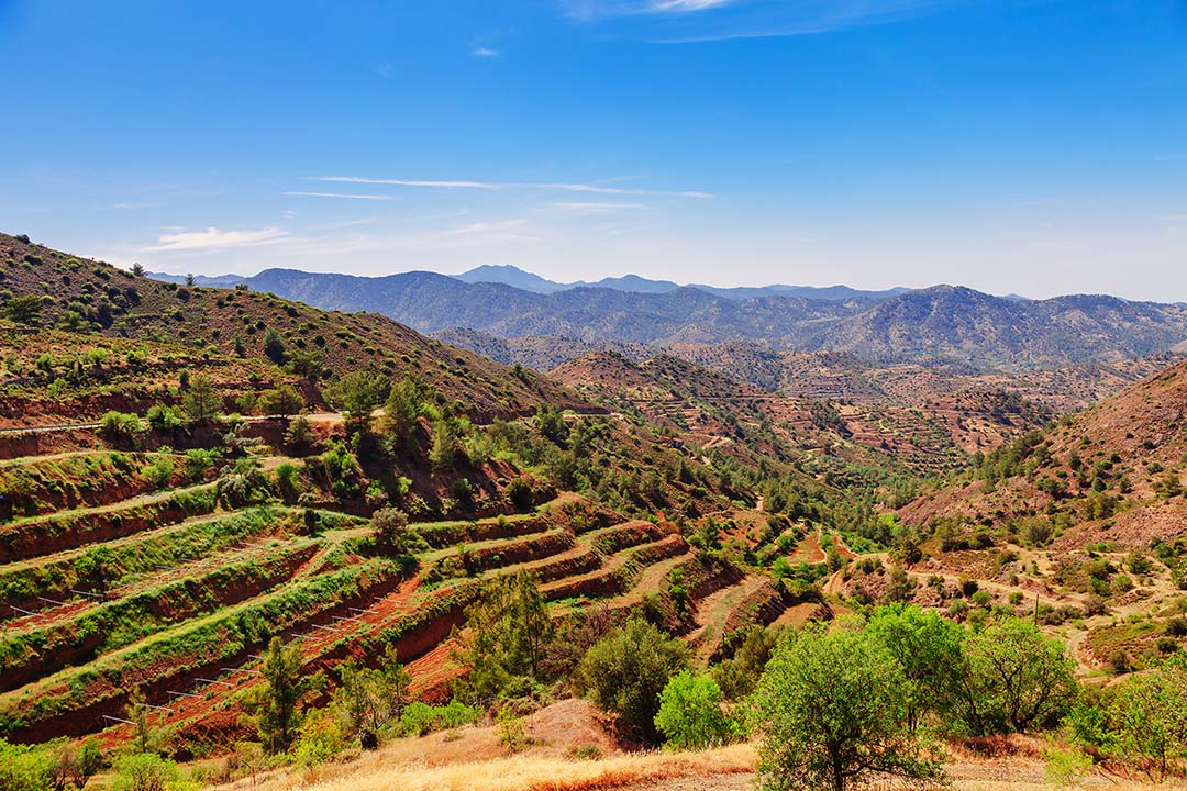 Panoramic view near of Kato Lefkara - is the most famous village in the Troodos Mountains. Limassol district, Cyprus, Mediterranean Sea. Mountain landscape and sunny day.