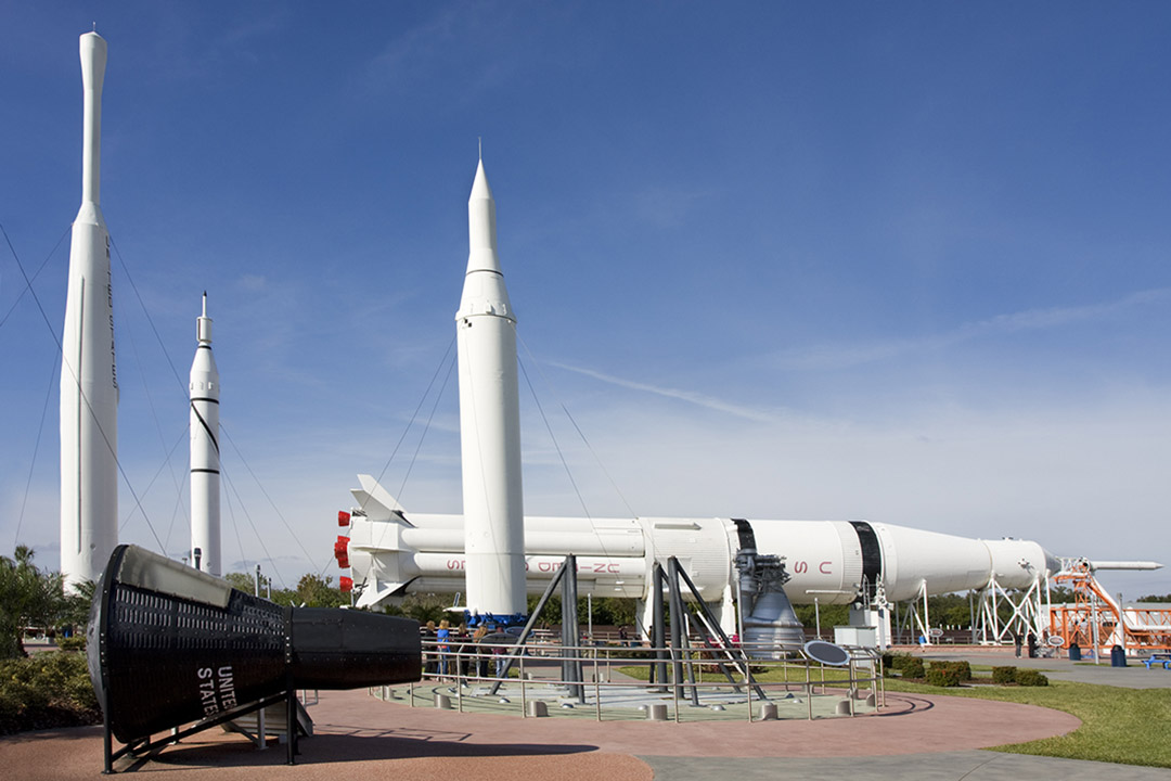 A rocket on display at the Kennedy Space Centre
