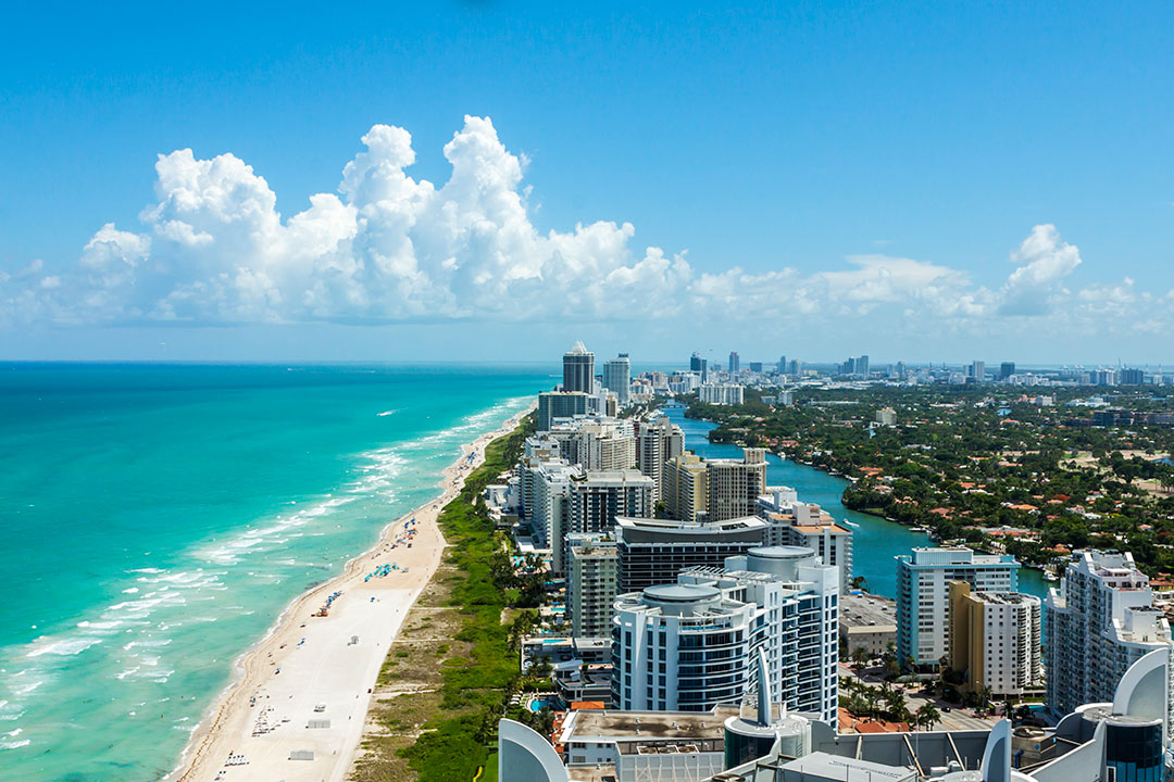 A birds-eye view along Miami's famed beach line on a clear day