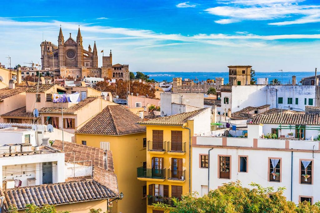 Colourful Mallorcan houses in Palma