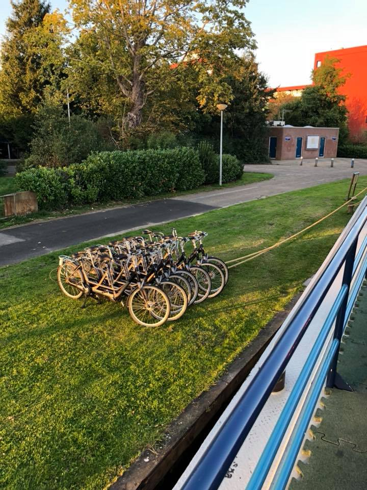 Image of the tandem bikes lined up by the side of the barge ready for the mornings ride