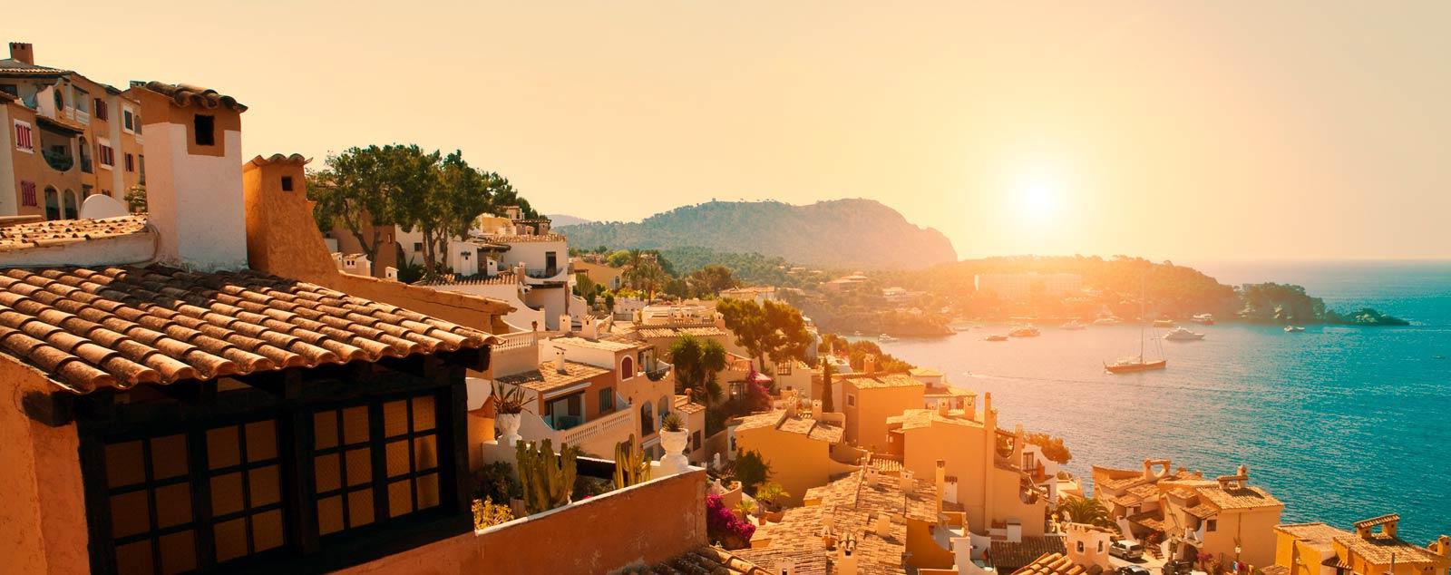 Sunset over an idyllic Mallorcan town