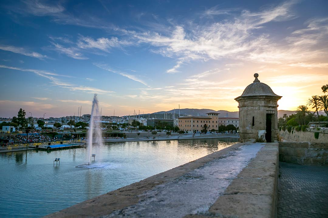 A tranquil fountain amidst classic Palma architecture