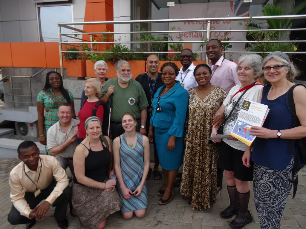 Image of the Traveleyes group at Sightsavers Ghana HQ