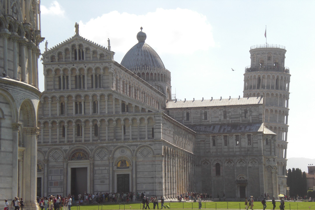The Meadow of Miracles showing the Baptisery, church and leaning tower of Pisa