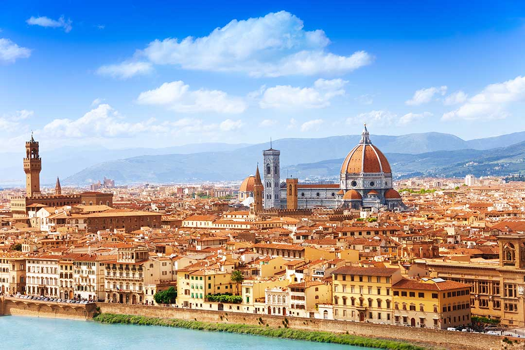 Cityscape panorama of Arno river, towers and cathedrals of Florence